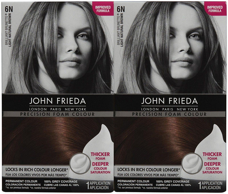 John Frieda Precision Foam Hair Colour Light Natural Brown 6n 2 Pk
