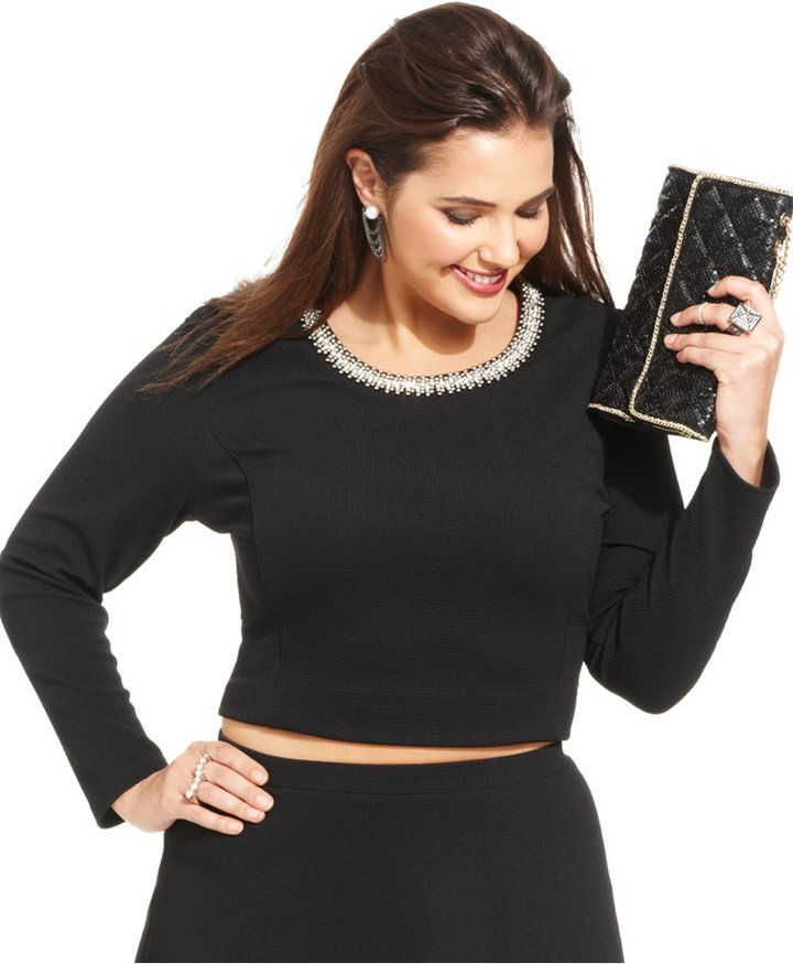 0f1a7bace9a Soprano Plus Size Beaded Cropped Top Junior Plus Size Clothing