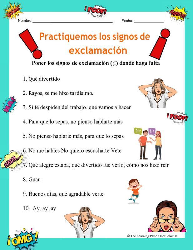 Puntación Exclamación Actividades De Ortografía Signos De Puntuacion Lectura De Comprensión
