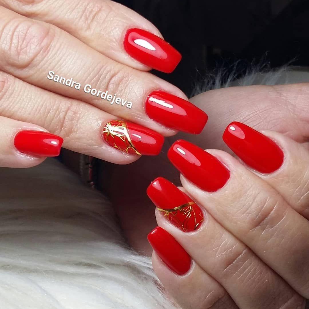 Fire Red Gel Nails Gold Decoration Nails Gold Gel Nails Red Gel Nails Nails