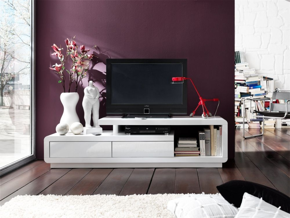 Calla TV-Lowboard Hochglanz lackiert weiß