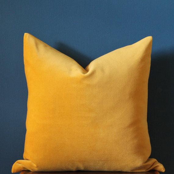 Luxury Mustard Yellow Velvet Pillow