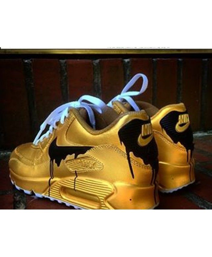 buy popular 7aa05 f4584 Cheap Nike Air Max 90 Candy Drip Womens Trainers In Gold Black ...