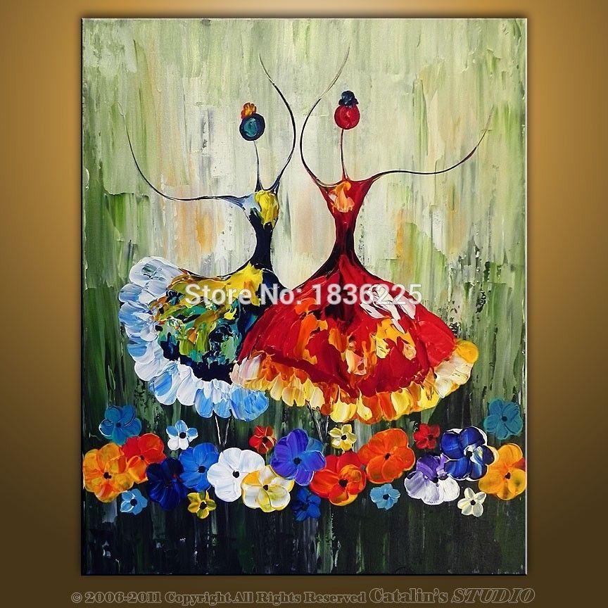 Barato pintados m o pinturas a leo da lona ballet - Decorarte pinturas ...