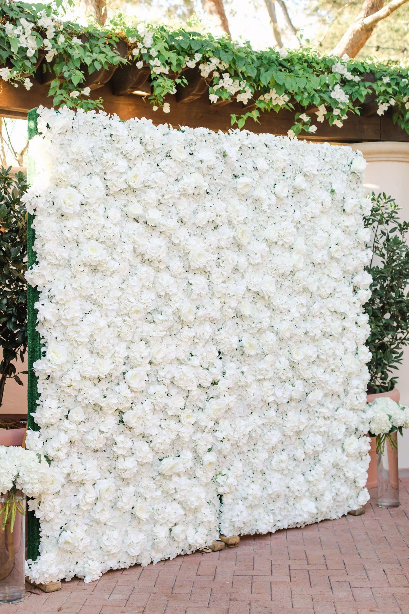 Luxury White Rose And Hydrangea Floral Wall Backdrop For Photos For Cocktail Hour Full Flower Wa Flower Wall Wedding Pelican Hill Wedding Flower Wall Backdrop