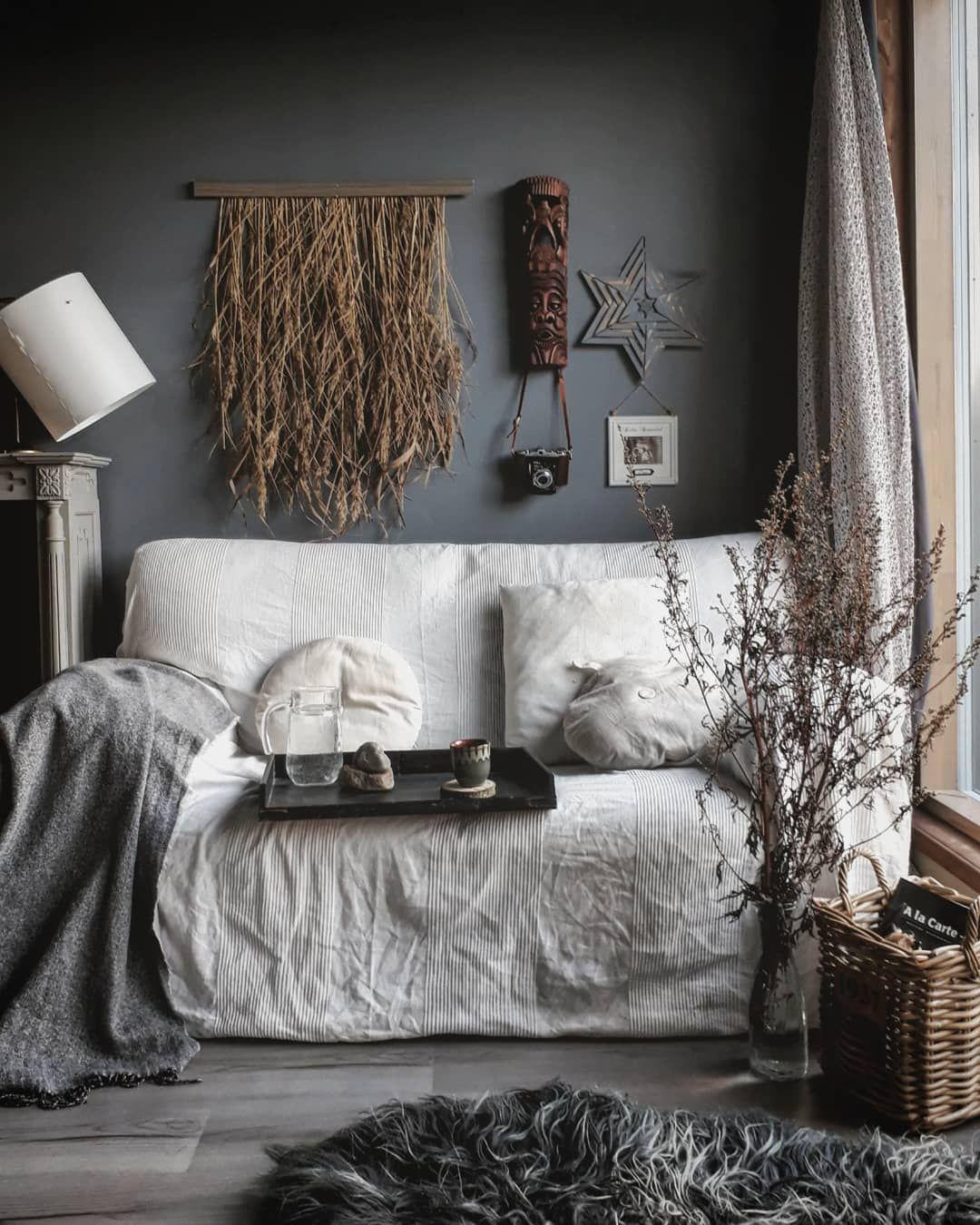 Diy Rustic Boho With Dark Gray Walls By Storm And Clay Gray Bedroom Walls Grey Wall Decor Grey Walls Gray boho bedroom ideas