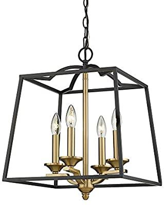 Emliviar 4 Light Foyer Chandelier, Lantern Pendant Light Cage Hanging Light for Entryway Dining Room, Black and Gold Finish, 2086P 4 BG