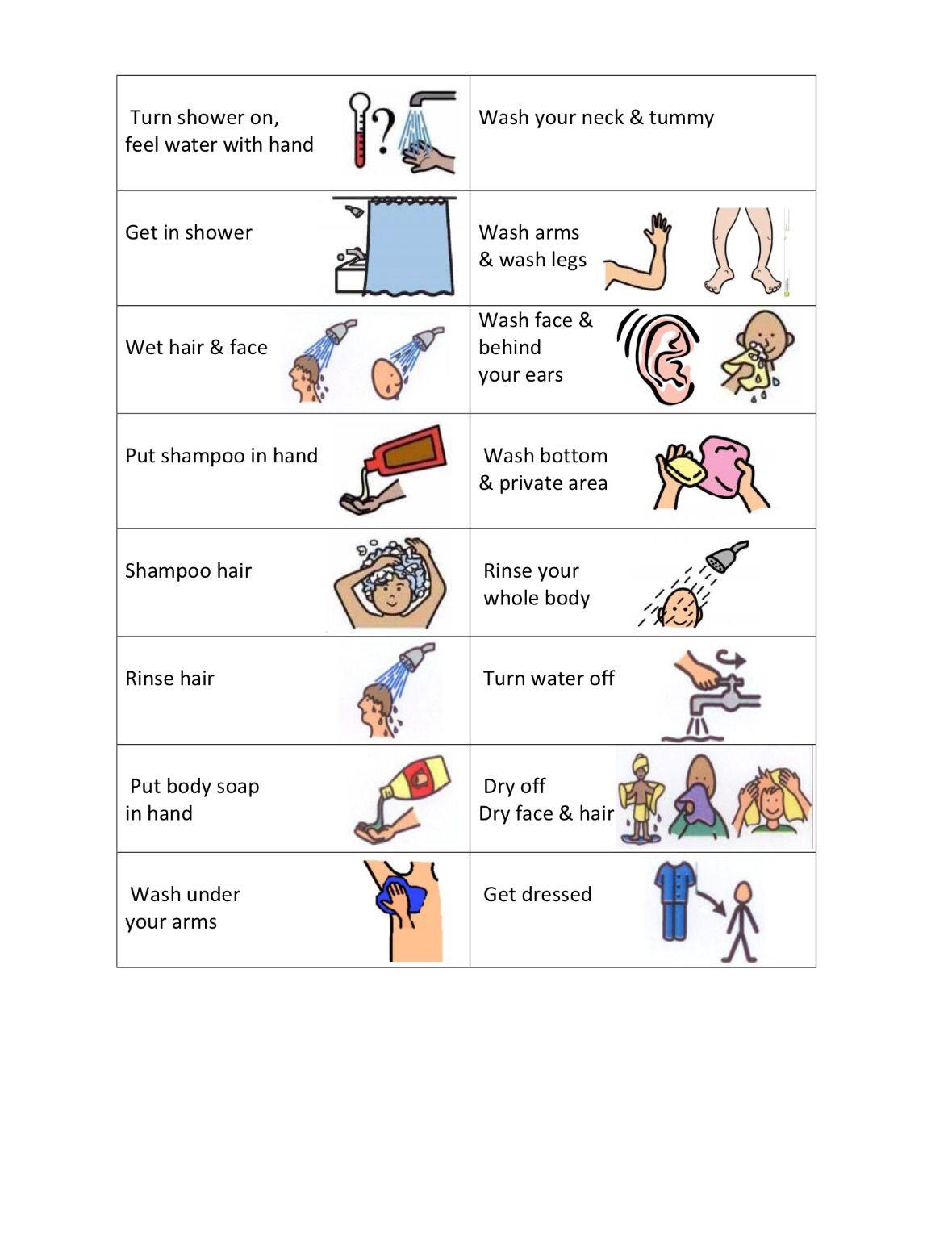 Shower Visual Schedule | ABA | Pinterest | Visual ...