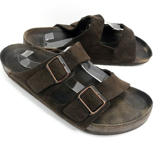 Birkenstock Mens Arizona Sandals Suede Leather Double Buckle Sz 45 US 12  Germany  Birkenstock  Slides f082d851ae3