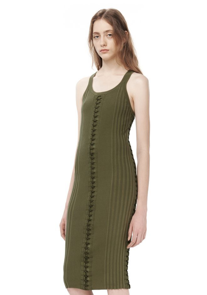ALEXANDER WANG ENGINEERED RIB TANK DRESS WITH FLIGHTSUIT LACING  KNIT DRESS Adult 12_n_e