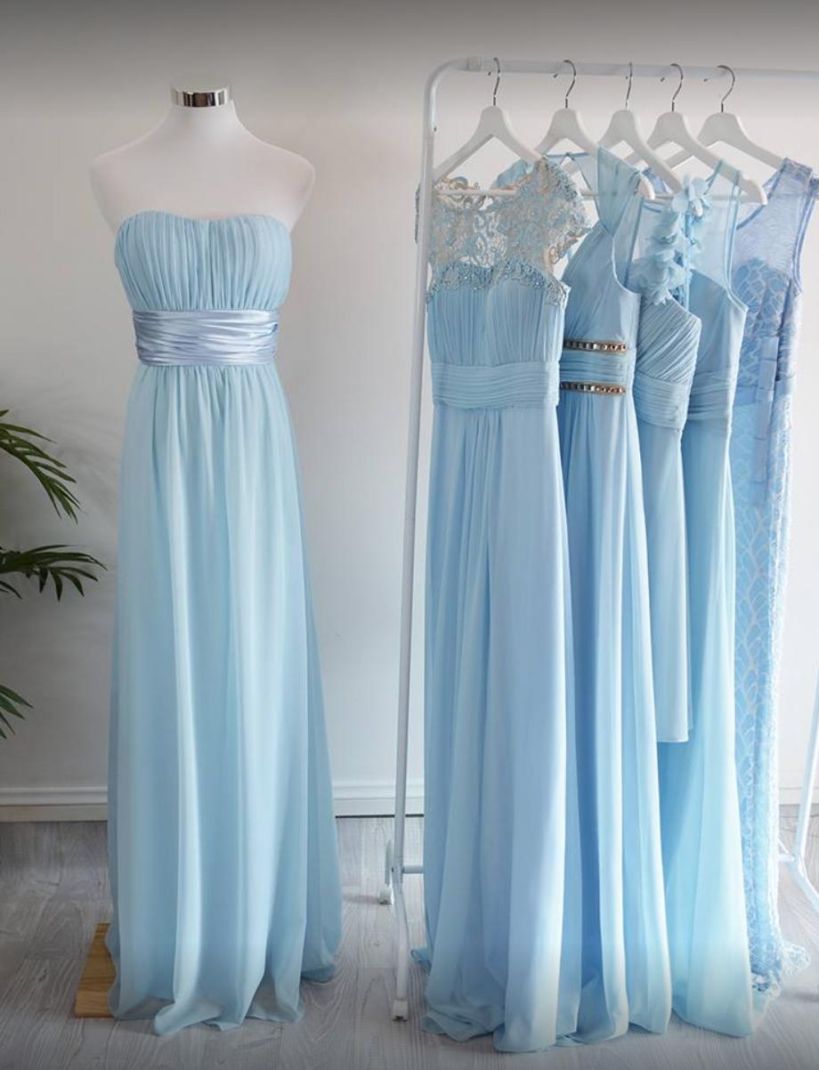 Light blue bridesmaid dresses mismatched blue dresses perfect for a