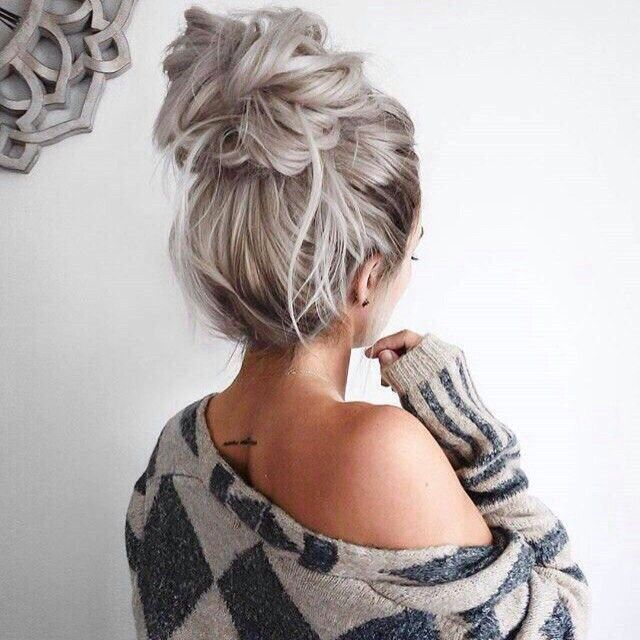 Pinterest Amymckeown5 Easy Bun Hairstyles Medium Hair Styles Hair Styles