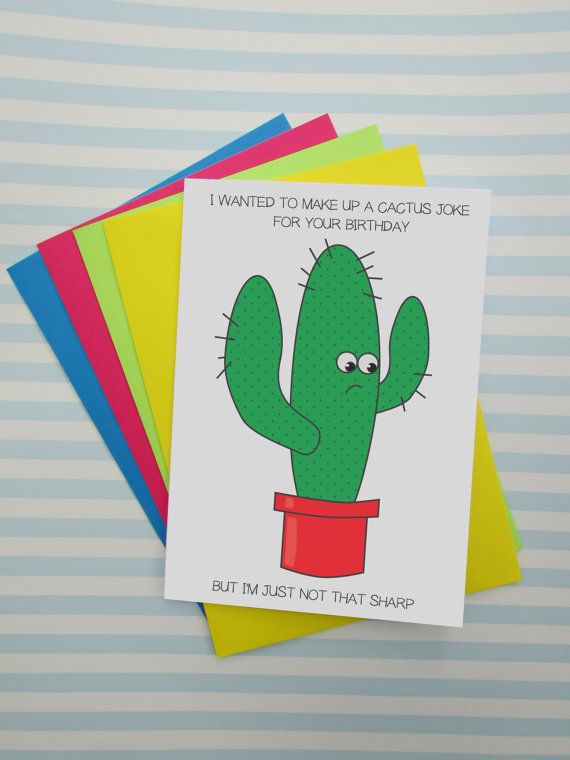 Cactus Joke Quirky Birthday Card Funny Card