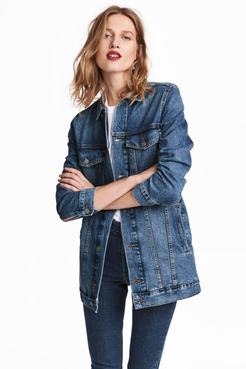 Denim Blue Long Jacket In Washed Denim With 3 4 Length Sleeves Collar Buttons At Front And At Cuffs Chest Pockets Long Denim Jacket Fashion Outerwear Women [ 1200 x 800 Pixel ]