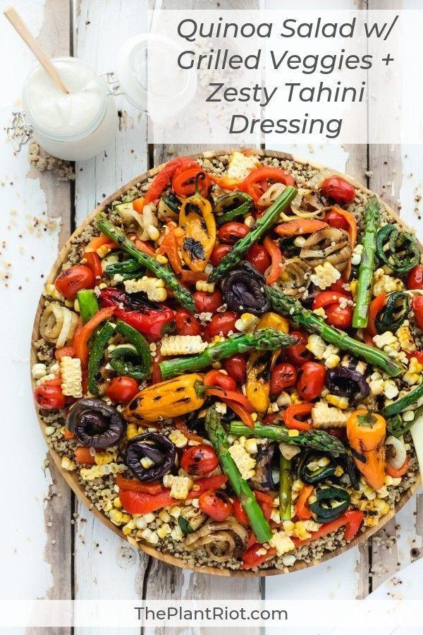 Quinoa Salad with Grilled Veggies + Zesty Tahini Dressing - The Plant Riot Quinoa Salad with Grille