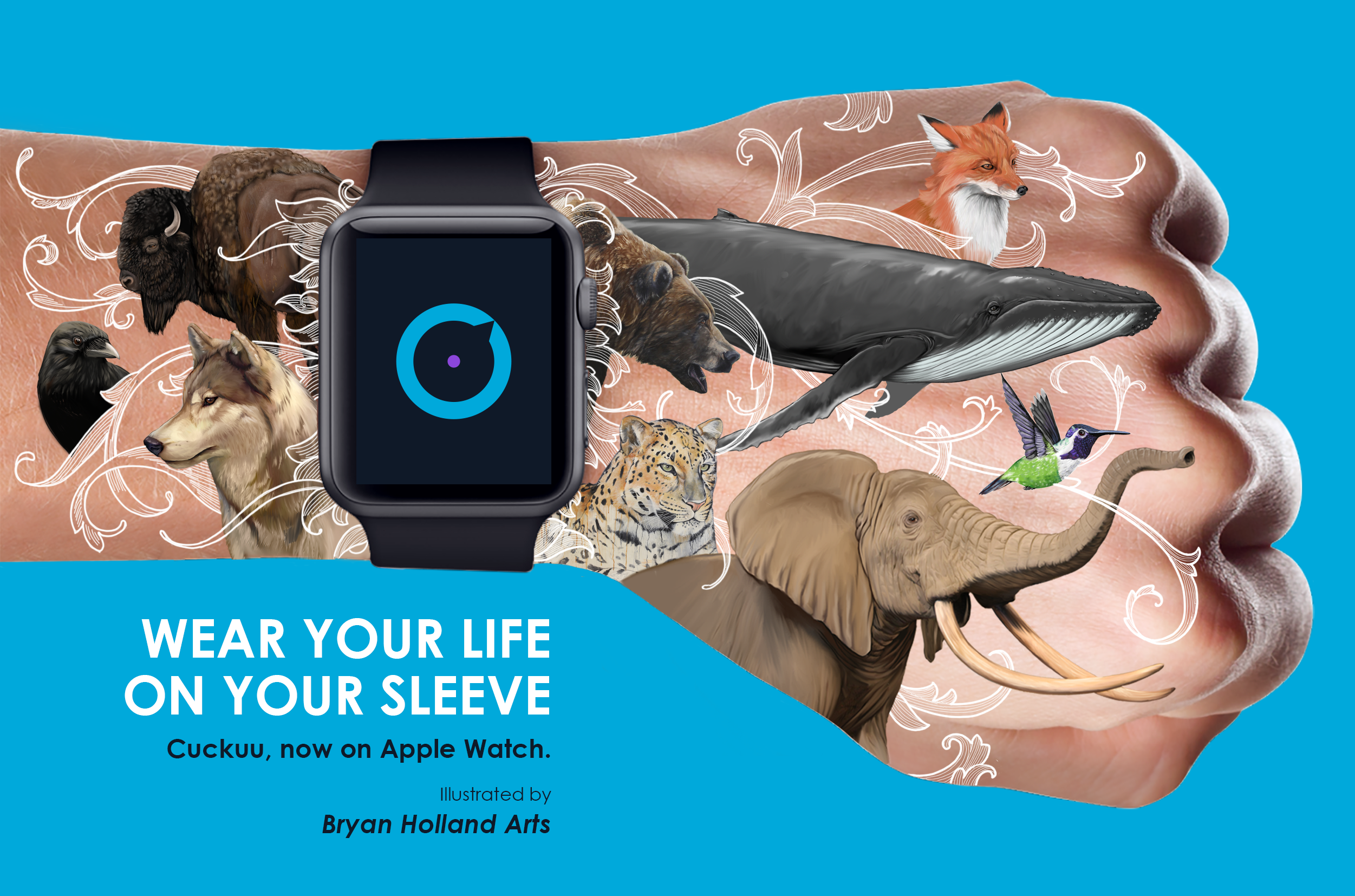 """The launch of Cuckuu for Apple Watch brought me the opportunity to challenge some great illustrators to """"Wear their lives on their sleeve."""" This week I'm pleased introduce you to the magnificent work of @bryanhollandart who produces the most amazing, original animal illustrations. Thank you for accepting the challenge Bryan! Take a look. I would love your feedback :) Keep a look out for more, cool guest artist buddies I'll be sharing with you very soon.    www.cuckuu.com"""