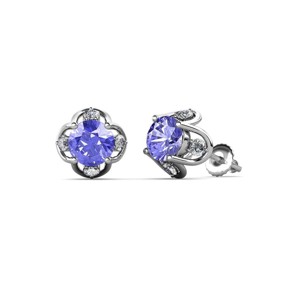 Our popular tulip studs are back in 14k gold. Available in White, Yellow & Rose gold. - Lifetime Guarantee #Tanzanite #gemstone #tulip #flower #studs #earrings #diamond #love #trijewels