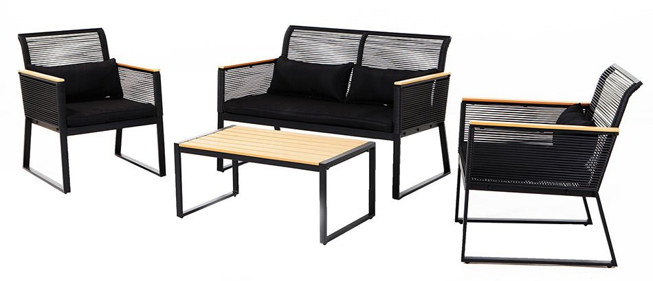 Sitzgruppe Barcelona 4tlg schwarz Loungemöbel Gartenset Loungeset ...