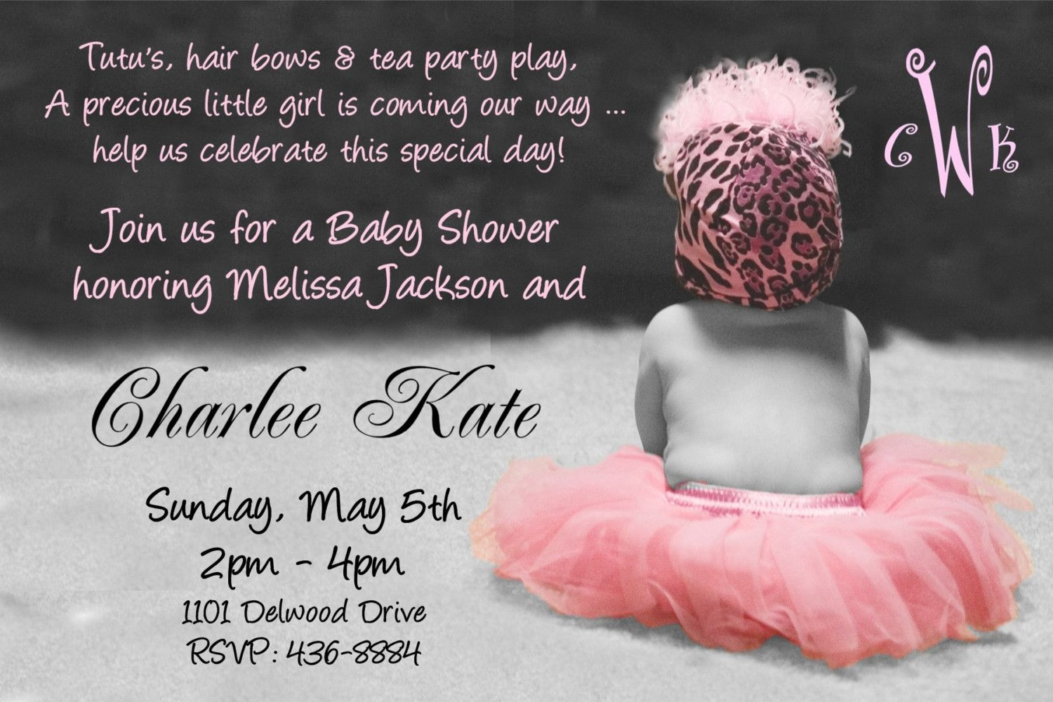 Baby Shower Invitations for Girls | TUTU Baby Shower Invitation for ...