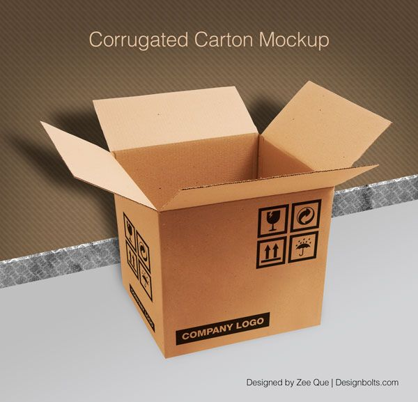 Download Free Corrugated Carton Box Packaging Mock Up Psd Packaging Mockup Corrugated Carton Mockup