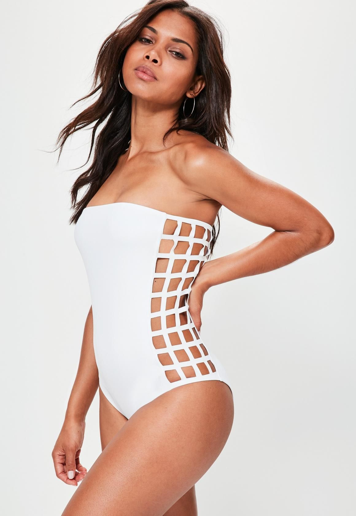 74902fcfd4e92 Missguided - White Laser Cut Bandeau Swimsuit