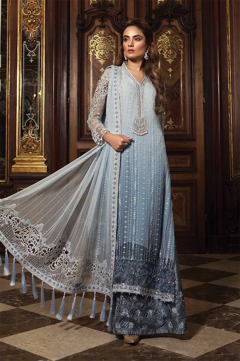 14f58e2b0a Unstitched MBROIDERED - Powder Blue (BD-1507) in 2019 | Desi clothes ...