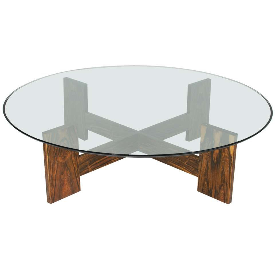 Brazilian Rosewood Coffee Table With Round Gl Top 1