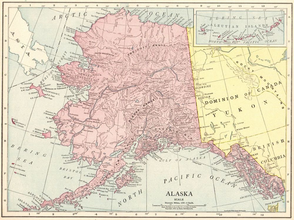 Details about 1914 Antique ALASKA MAP Vintage Map of Alaska ...