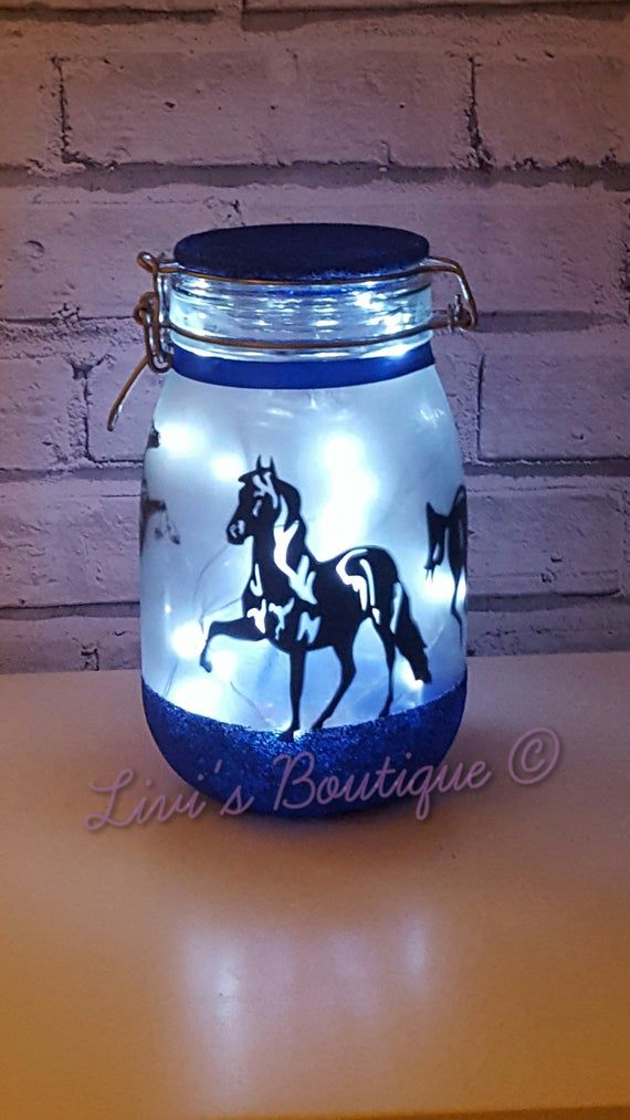 Horse Night Light, Large Fairy Light Up Jar, Horse Lamp, Horse Decor, Horse Light, Horse Lovers Gift, Large Light Jar