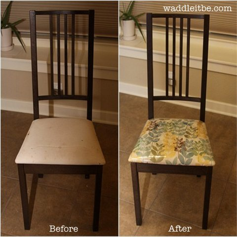 Reupholster Those IKEA Chairs With Cute Fabric And Easy To Clean Vinyl