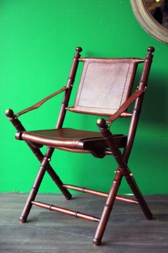 Teak Leather Folding Safari Chair Safari Chair British Colonial Decor Chair