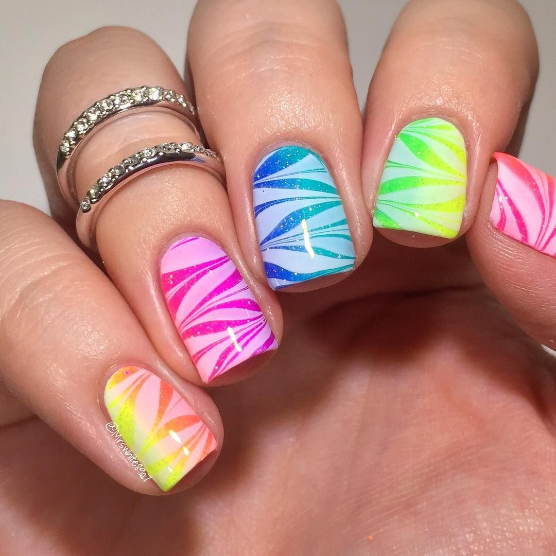 Neon Multicolor Watermarble Nails | Neon Nails, Fashion, and Makeup ...