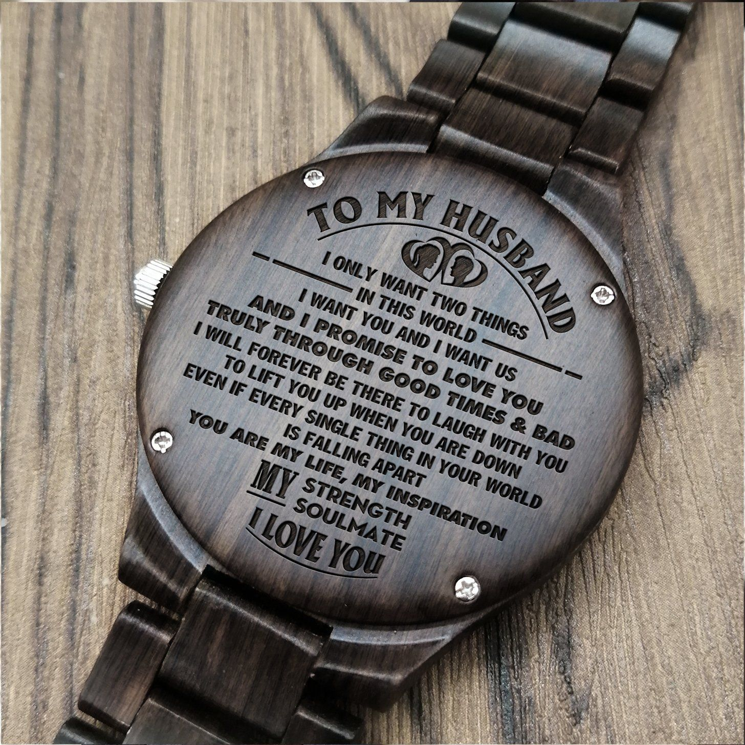 Husband engraved wooden watch gifts for fiance
