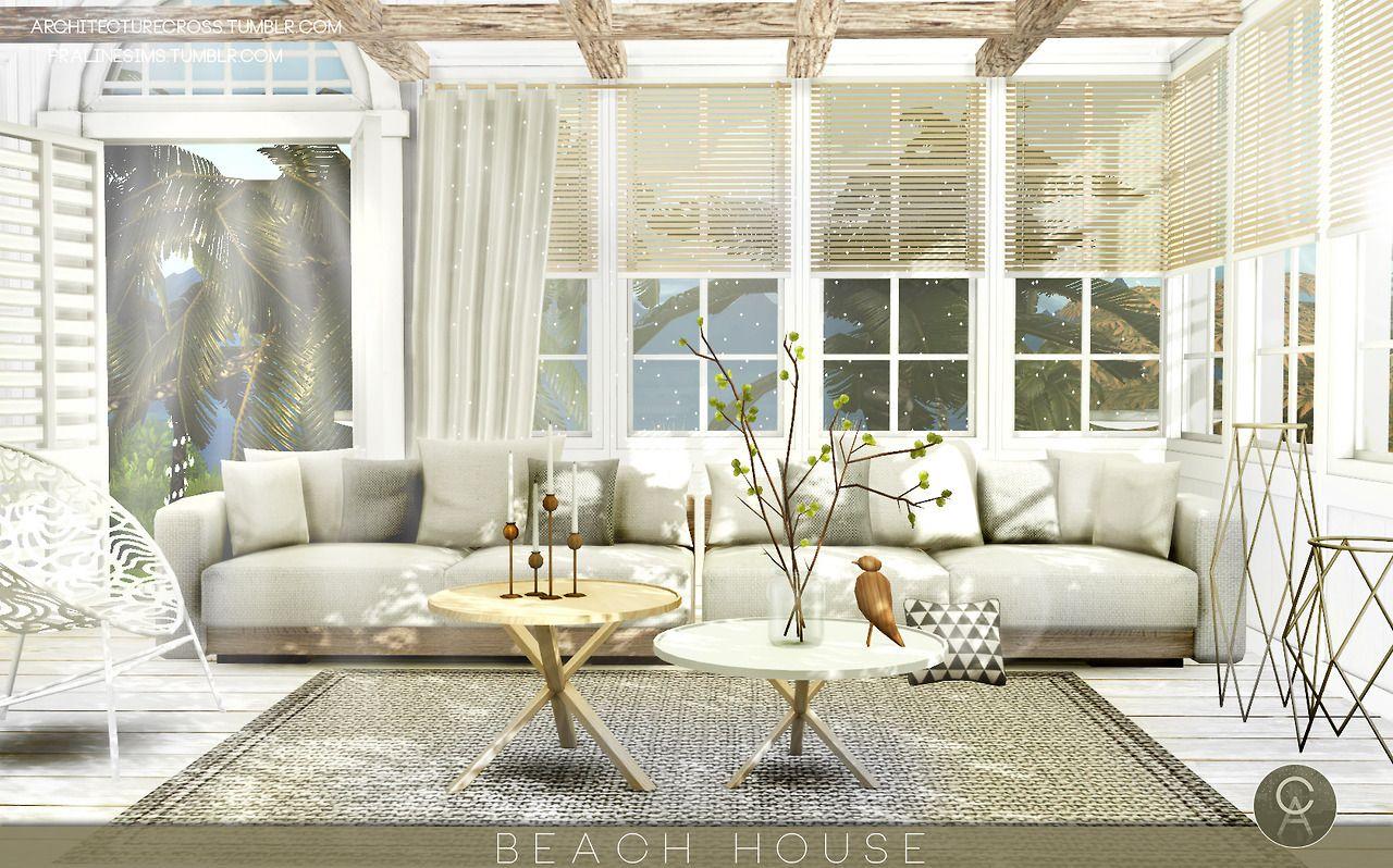 Beach house cc | Living room sims 4, Sims house design ... on Cc Outdoor Living id=70939