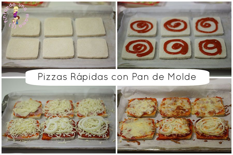 Pizza Rpida de Pan de Molde recetas para cocinar Pinterest