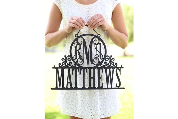 Personalized Newlywed Sign with Monogram and Last Name