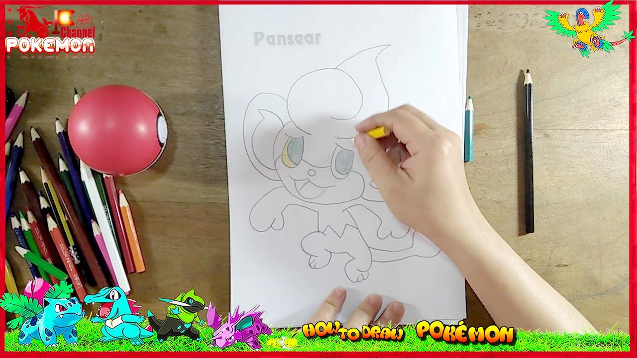 learn how to draw and color pansear pokmon kids learn coloring drawing fun coloring pages pokemondrawings howtodraw cartoon pokemon 4kids learn