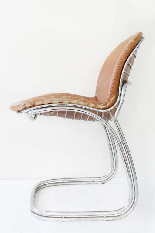 Gastone Rinaldi Chrome Leather Dining Chairs Cantilever Chair