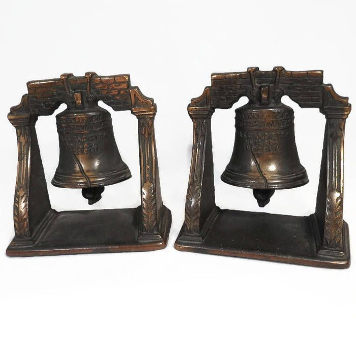 Liberty Bell Bookends, Cast Iron Copper Wash, Library Home Decor ...