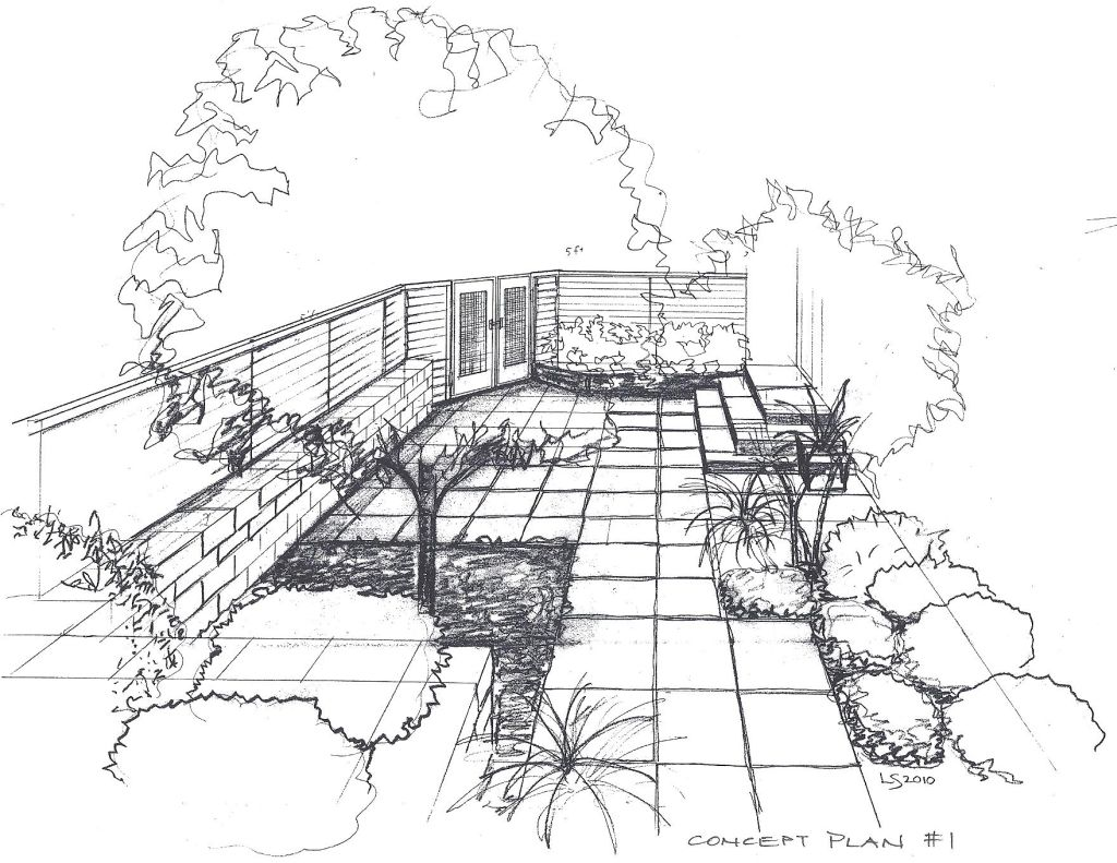 Landscape design sketches for beginners bathroom design for Garden design sketches