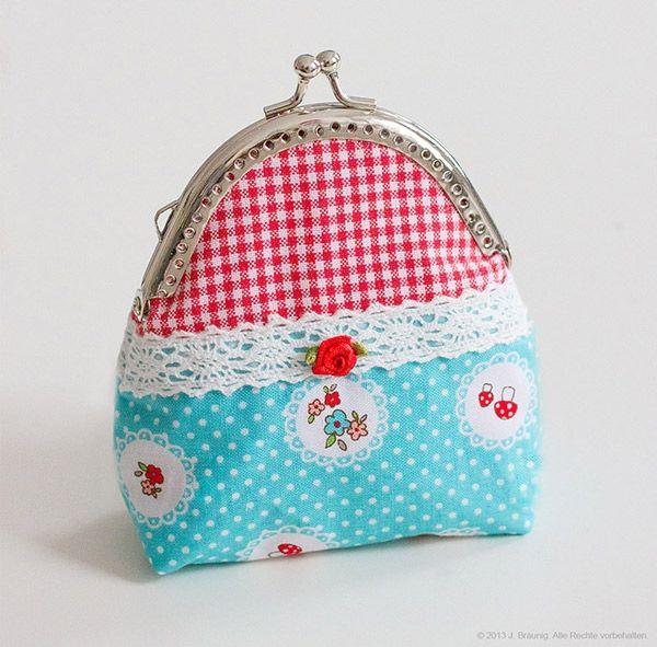 Süße Clipbörsen: Ein Portemonnaie mit Taschenbügel http://www.crazypatterns.net/de/items/469/suesse-clipboersen-ein-portemonnaie-mit-taschenbuegel