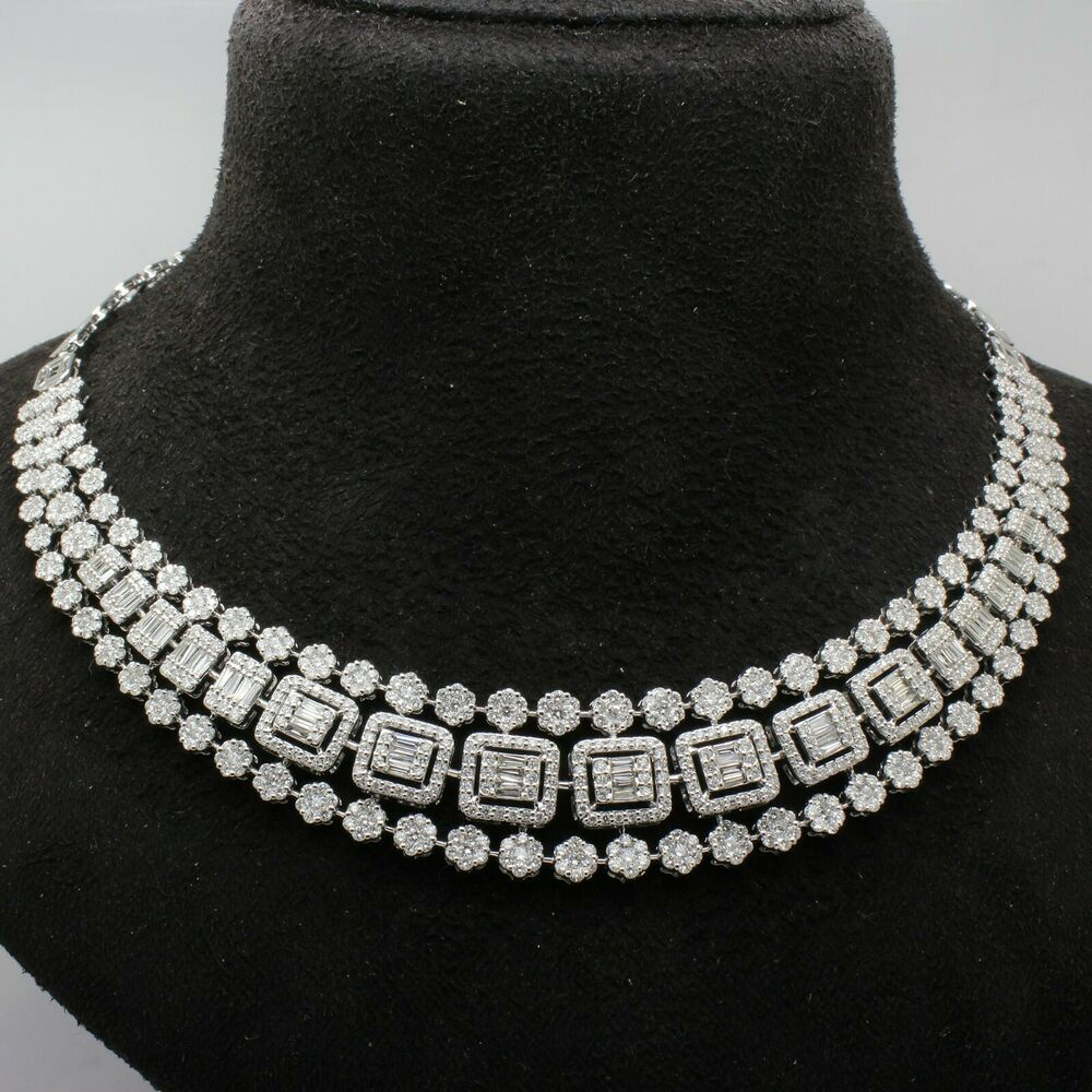 Sparkly Diamonds Choker Sterling Silver 3Row Tennis Necklace Wedding Bridal