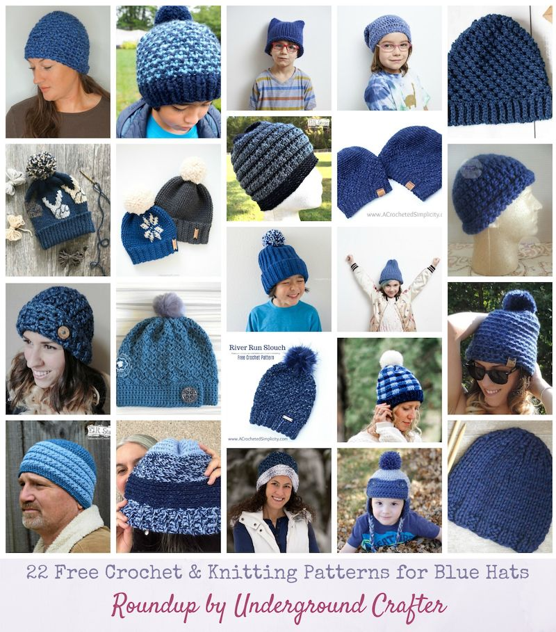 cc266d34792 22 Free  Crochet and  Knitting Patterns for Blue Hats via Underground  Crafter