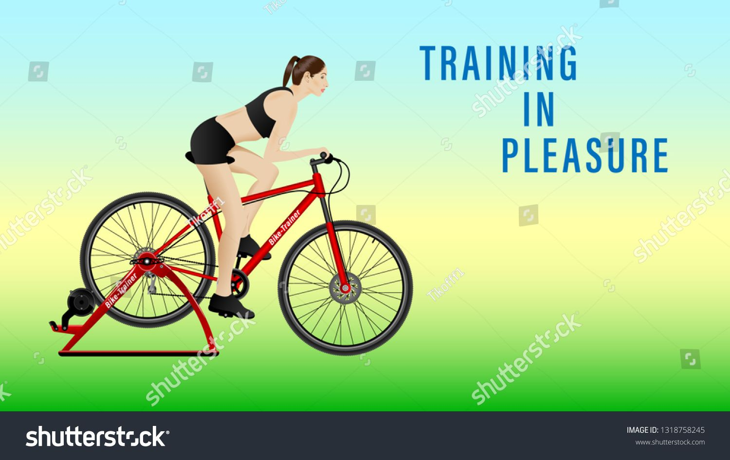 Woman Practicing On A Stationary Bike Bike Trainer On Gradient
