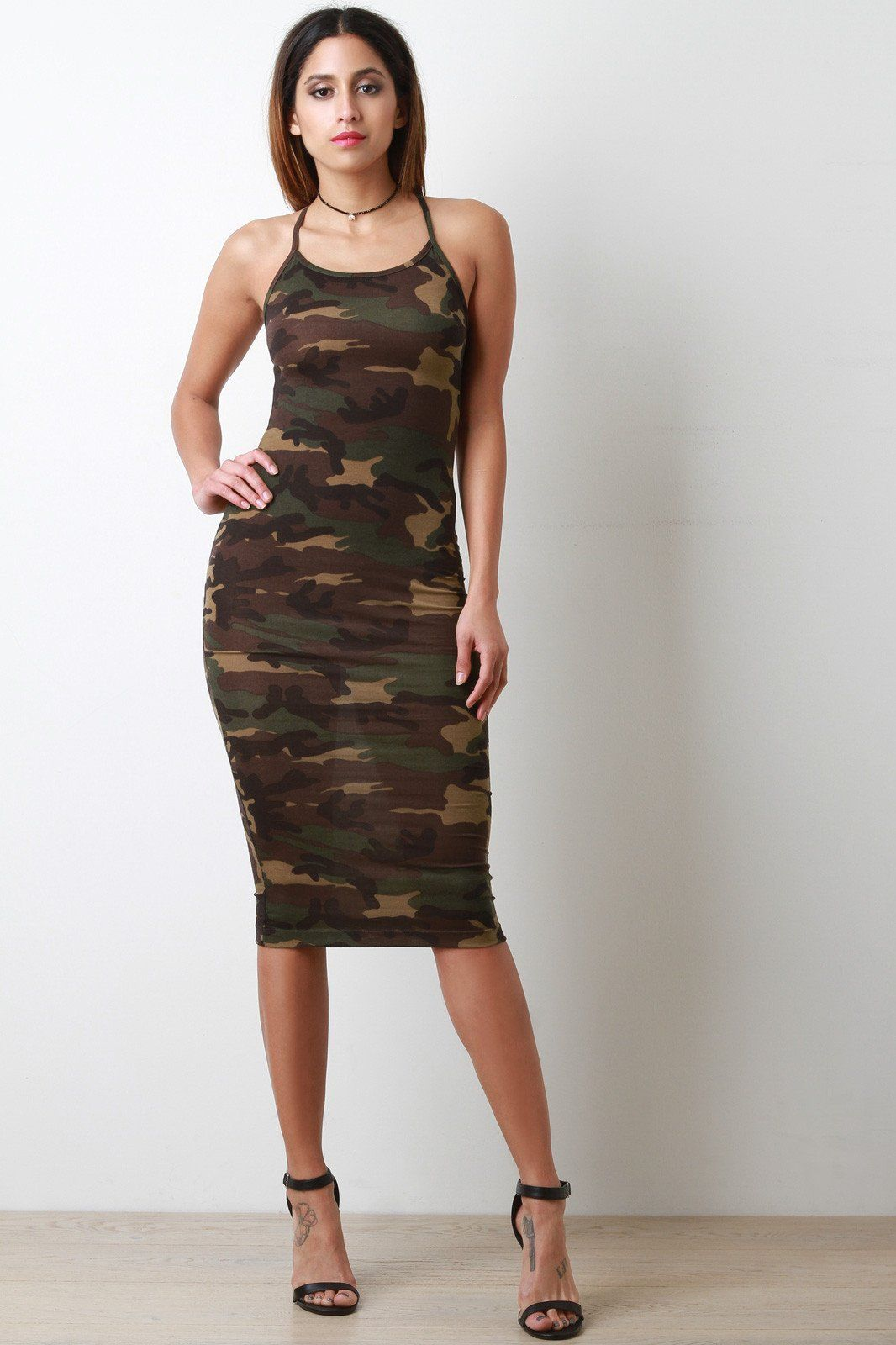 Camouflage sleeveless midi dress camouflage and products
