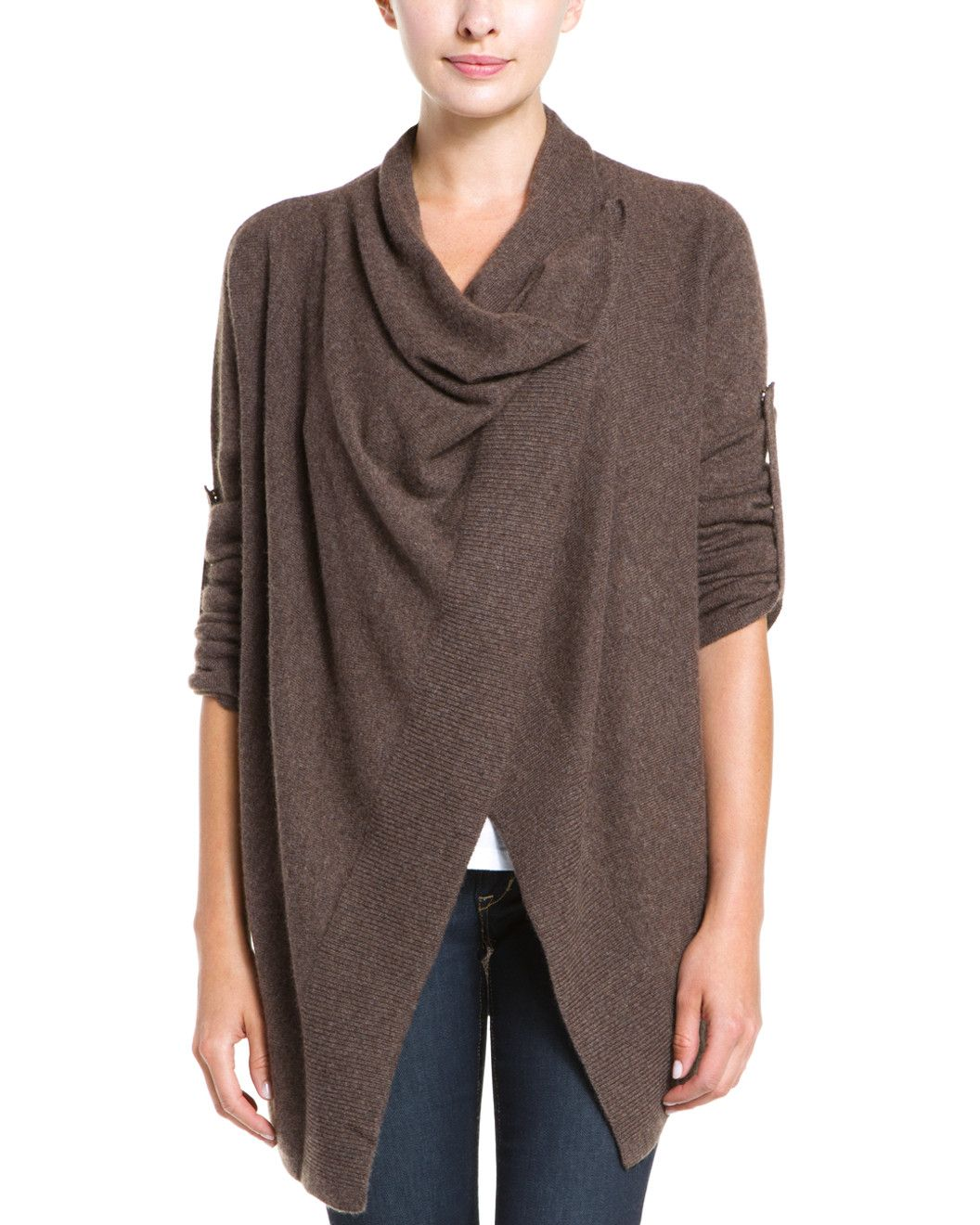 Spotted this sofiacashmere Brown Cashmere Asymmetrical Wrap ...