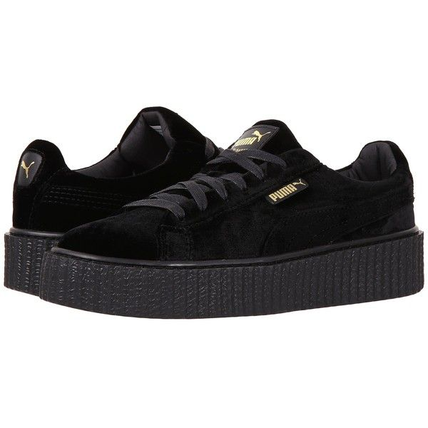 1ed102cd7d6a PUMA Creeper Velvet (Puma Black/Puma Black) Womens Shoes ($150) ❤ liked on  Polyvore featuring shoes, sneakers, dark, velvet shoes, laced shoes, ...