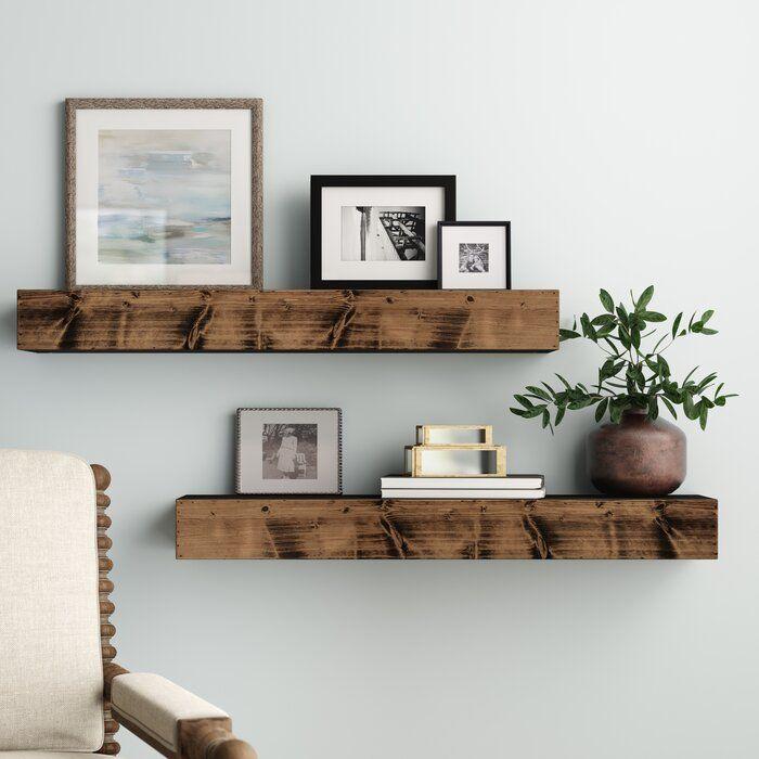 Three Posts Wadebridge Wood Floating Shelf Reviews Wayfair Floating Shelves Living Room Shelf Decor Living Room Living Room Shelves