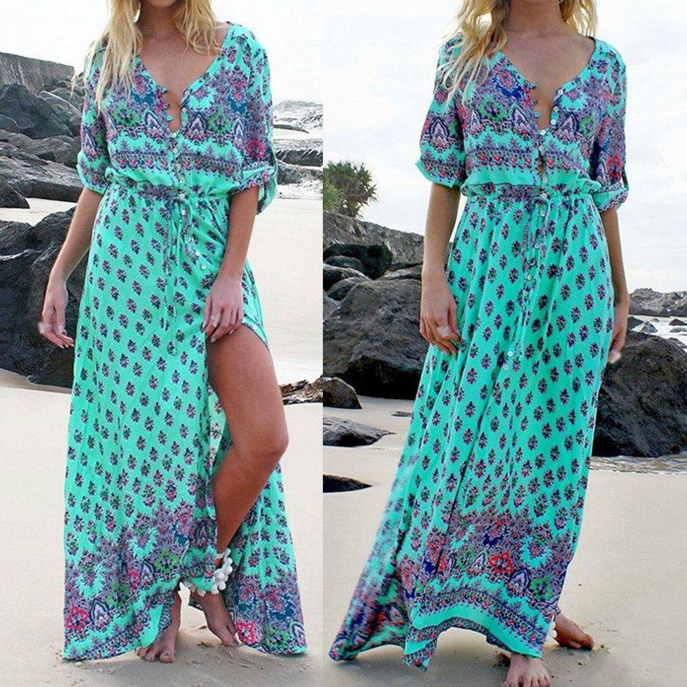Boho women long maxi dress sleeve party cocktail floral beach