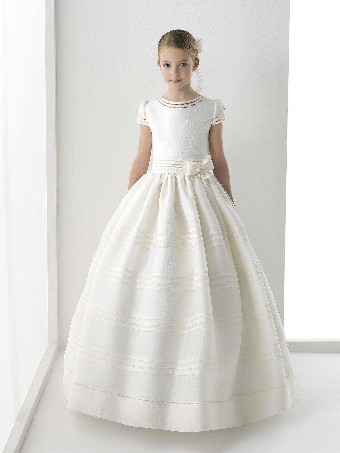Nectarean ball gown short sleeve bows floorlength satin communion